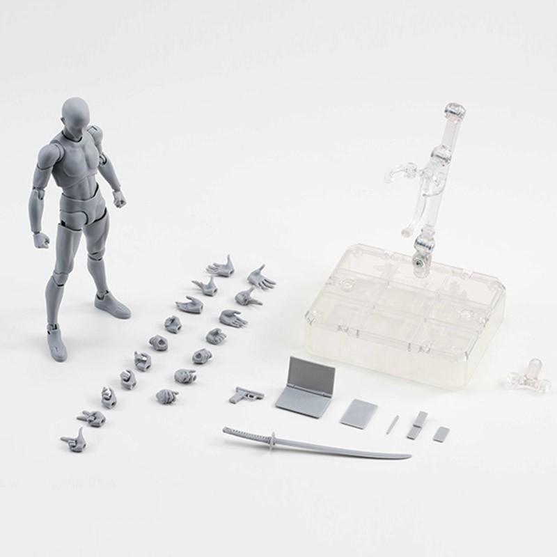 2 Style Body Chan Pale Gray Color 14cm Figma Bandai SHF Ferrite PVC Action Figure Figma (11)