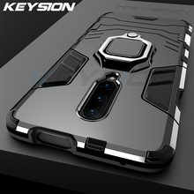 KEYSION Shockproof Armor Case For Oneplus 7 Pro Stand Holder Car Ring Phone Cover for Oneplus 7 1+7 Back TPU+PC Magnetic Case