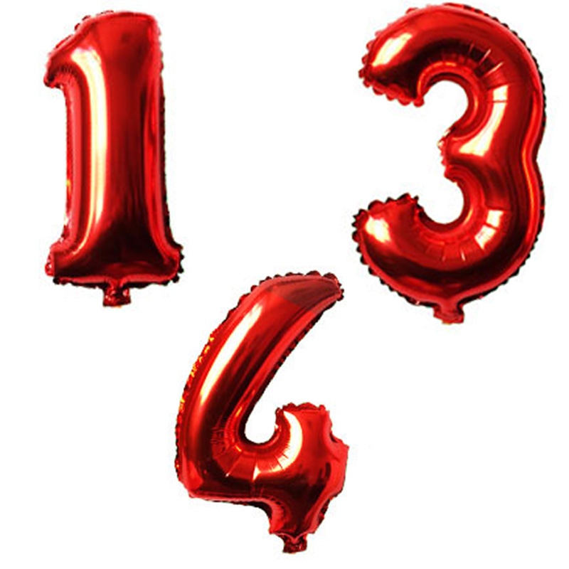 32 Inches Red Digit Foil Number Balloons Number