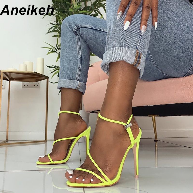 Aneikeh 2019 New Fashion Sandals Ankle Strap Cross-Strap Woman Sandals 12CM High Heels Narrow Band Slip-On Sandals Dress Pumps
