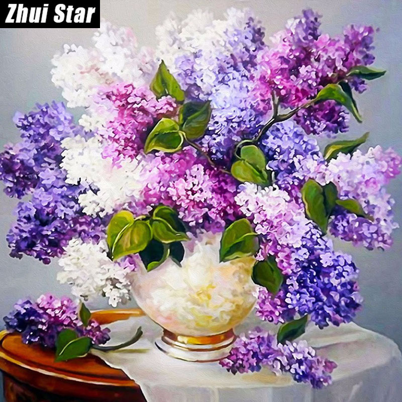 DIY 5D Purple Lavender ყვავილების მოედანი Diamond Painting Cross Stitch Kids Diamond ნაქარგები Diamond Mosaic Home Decoration zx