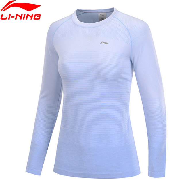 Li-Ning Women Running Long-Sleeved T-Shirts 100%Nylon/Polyester Slim Fit LiNing Breathable Sports Tee Tops ATLP032 WTL1454