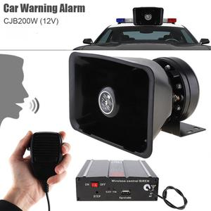 Weer-Proof 12V 200W 9 Tone Loud Auto Waarschuwing Alarm Politie Sirene Hoorn Luidspreker Met Mic Systeem