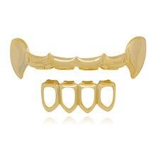 1f2adc853d972 Nuevo oro dientes grillz Top   Bottom Hip Hop parrillas conjunto Cosplay  vampiro ahueca hacia fuera dientes gorras Rapper joyerí.