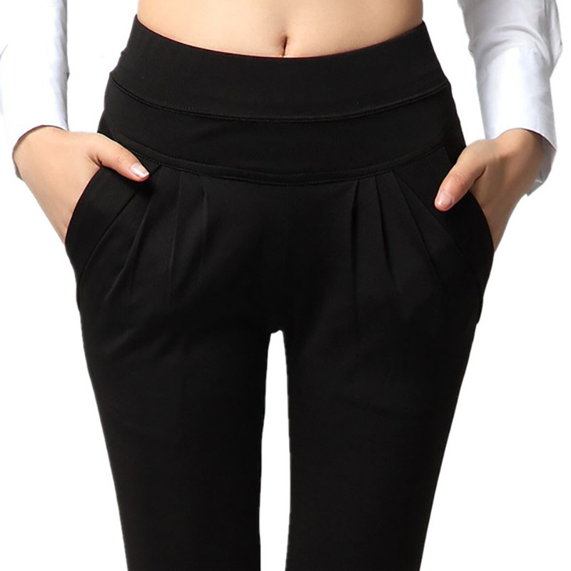 Image 4 - NORMOV Fashion Women Harem Pants Mid Waist Summer Plus Size Loose Classic Trousers Female Pleated Solid Black Female Pants-in Pants & Capris from Women's Clothing
