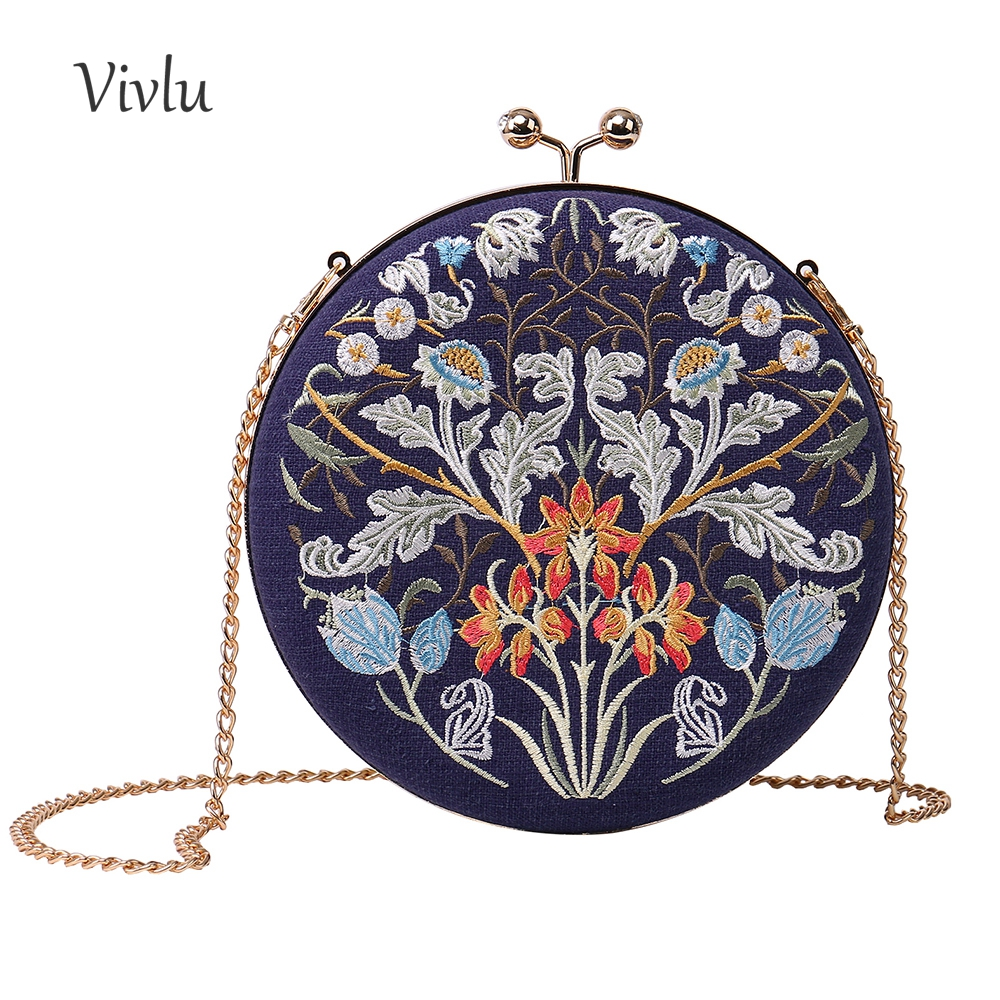 2018 new style floral embroidery evening clutch bags round shaped evening bags with chain wedding bag BG-0022018 new style floral embroidery evening clutch bags round shaped evening bags with chain wedding bag BG-002