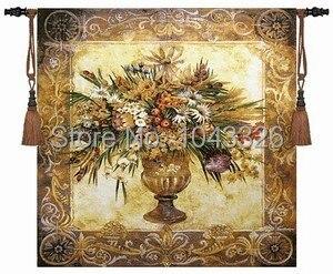 134*134 cm belgique toscane en pot fleur jacquard tissu photo tapisserie tentures murales tapisseries murales pt-59