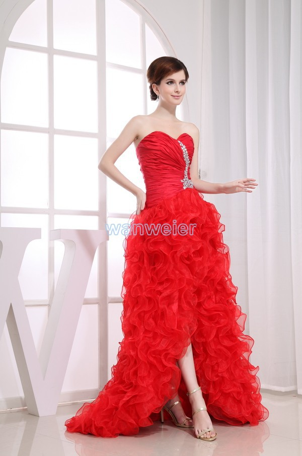 free shipping formal gown 2016 womens crystal formal   dress   with train brides maid   dress   After short before long red   prom     Dresses