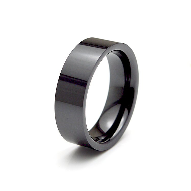 Free Shipping Luxury Brand 7mm High Polished Black Ceramic Ring Mens Wedding Engagement Band Ring WCE003R