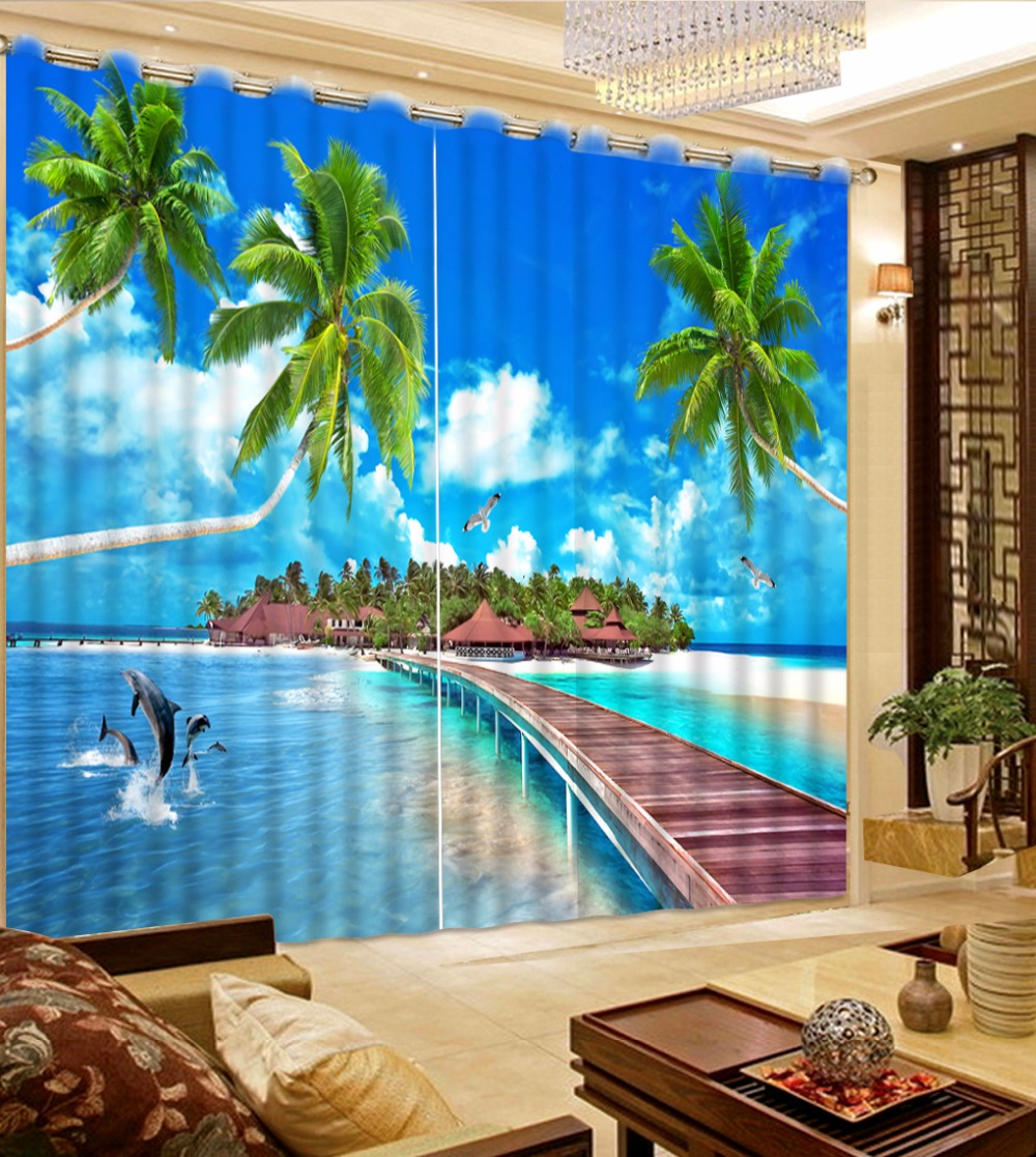 Fashion Customized Seascape Wooden Bridge Scenery Curtains White Clouds Blue Curtains Blackout Shade Window Curtains
