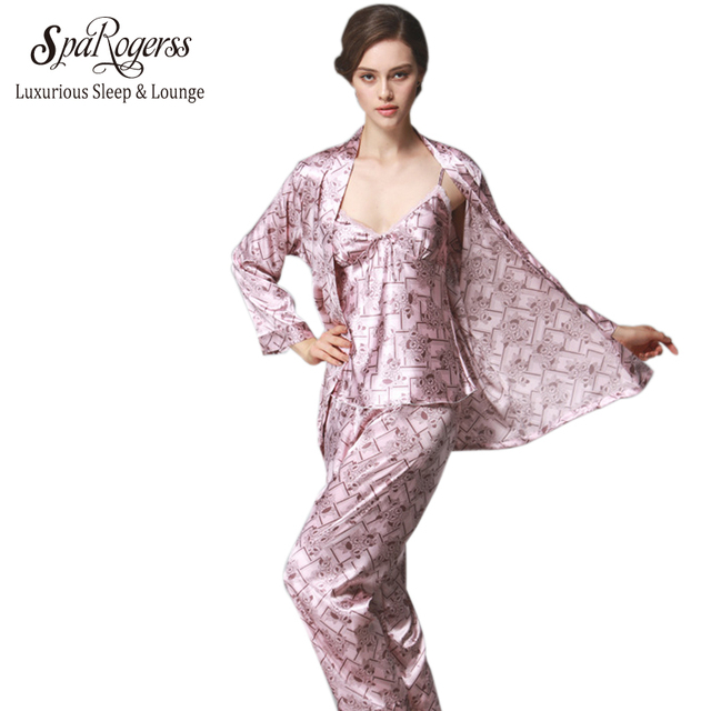 f023c71c57ac SpaRogerss Faux Silk Women Pajamas Sets 2018 Brand Design 3 Pcs Ladies  Luxurious Pajamas Suit Female