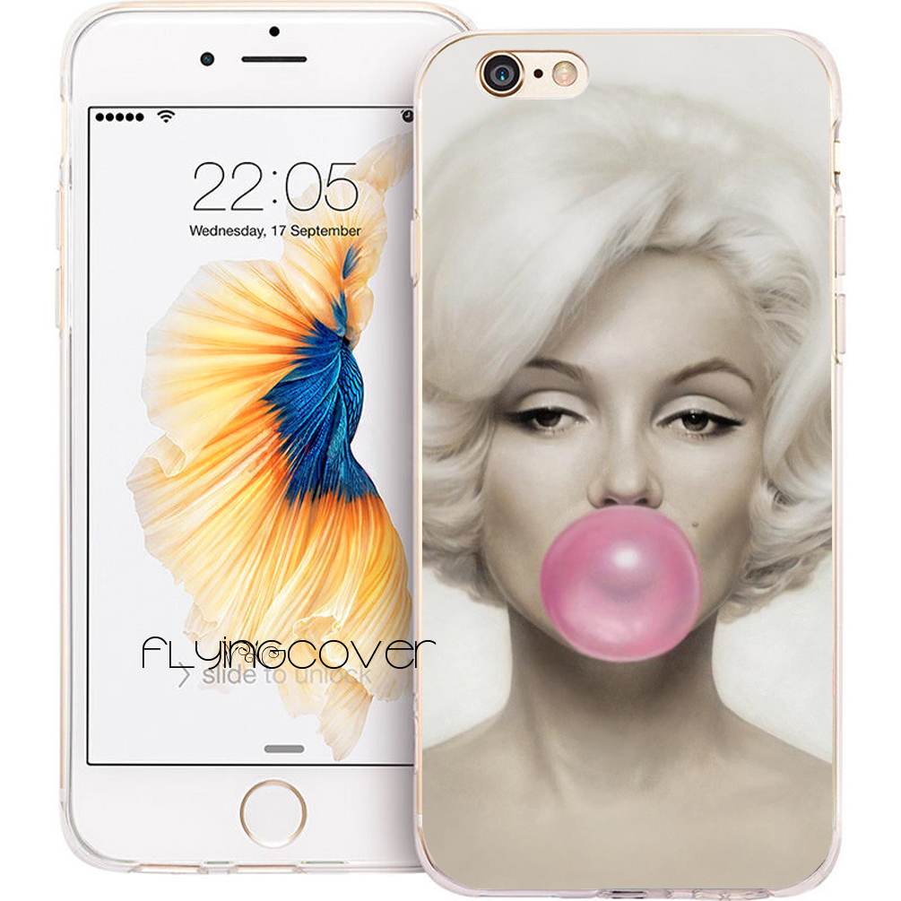 Coque Marilyn Monroe Bubble Gum Soft TPU Silicone Phone Cover for iPhone 7 7Plus Case for iPhone 5S 5 SE 6 6S Plus 5C 4S 4 Cases