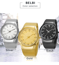 BELBI Mens Quartz Wrist Watches AAA Top Brand Ultra-thin Steel Watchstrap Clock Chins Ship Dial Design Business Gold Male Gift