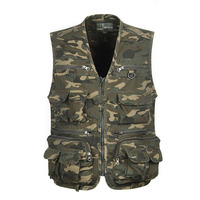 2019 Multi Pocket Camouflage Vest Men Casual Travel Waistcoat Cotton Fish Sleeveless Jacket Camo Caza Vest Straight Clothes