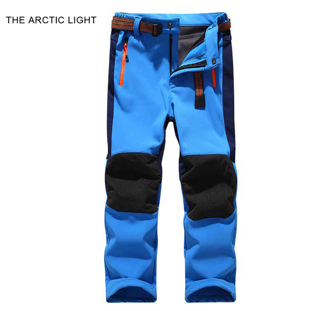 76f6373fe3 Arktycznego światła spodnie narciarskie piesze wycieczki camping chłopak  dziewczyna dziecko wodoodporna oddychająca soft shell grube spodnie