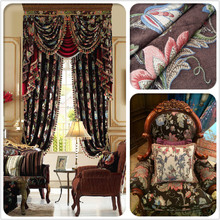 2016 Luxurious American Floral Brown Jacquard Woven Chenille Viscose Polyester Sofa Fabric 280cm width