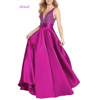 Real Photos Sexy Deep V Neck Prom Dress Beaded Empire Satin Formal Party Gowns Ruched Backless Long Evening Dress gala jurken