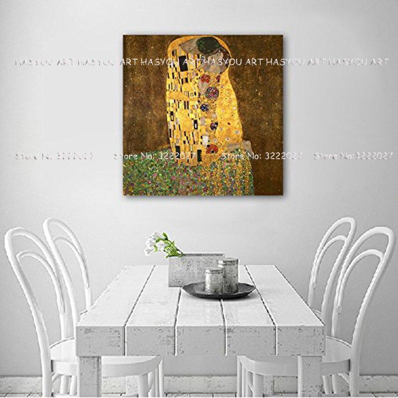 Leinwand Malerei Palette Klimt Kuss Liebe Gesicht öl malerei Poster wand kunst bilder für wohnzimmer wohnkultur caudros decoracion - 2