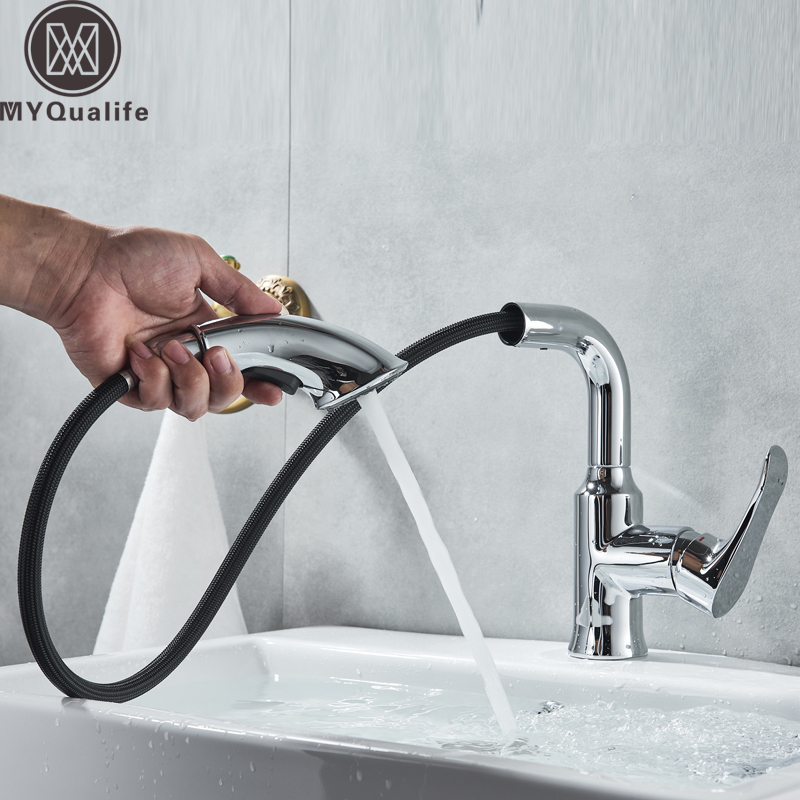 Chrome Pull Out Basin Faucet Deck Mounted Bathroom Vessel Sink Mixers Stream Sprayer Hot Cold Water Tap One Handle Washing Tap pull out sprayer kitchen faucet chrome deck mounted 360 degree luxury white hot and cold stream water mixer bathroom tap sink