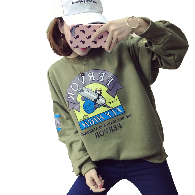 Fashion New Womens Hoodies Harajuku Thickening Femme Cartoon Printed Females Sweatshirt Kpop Loose Casual Women Pullovers Female