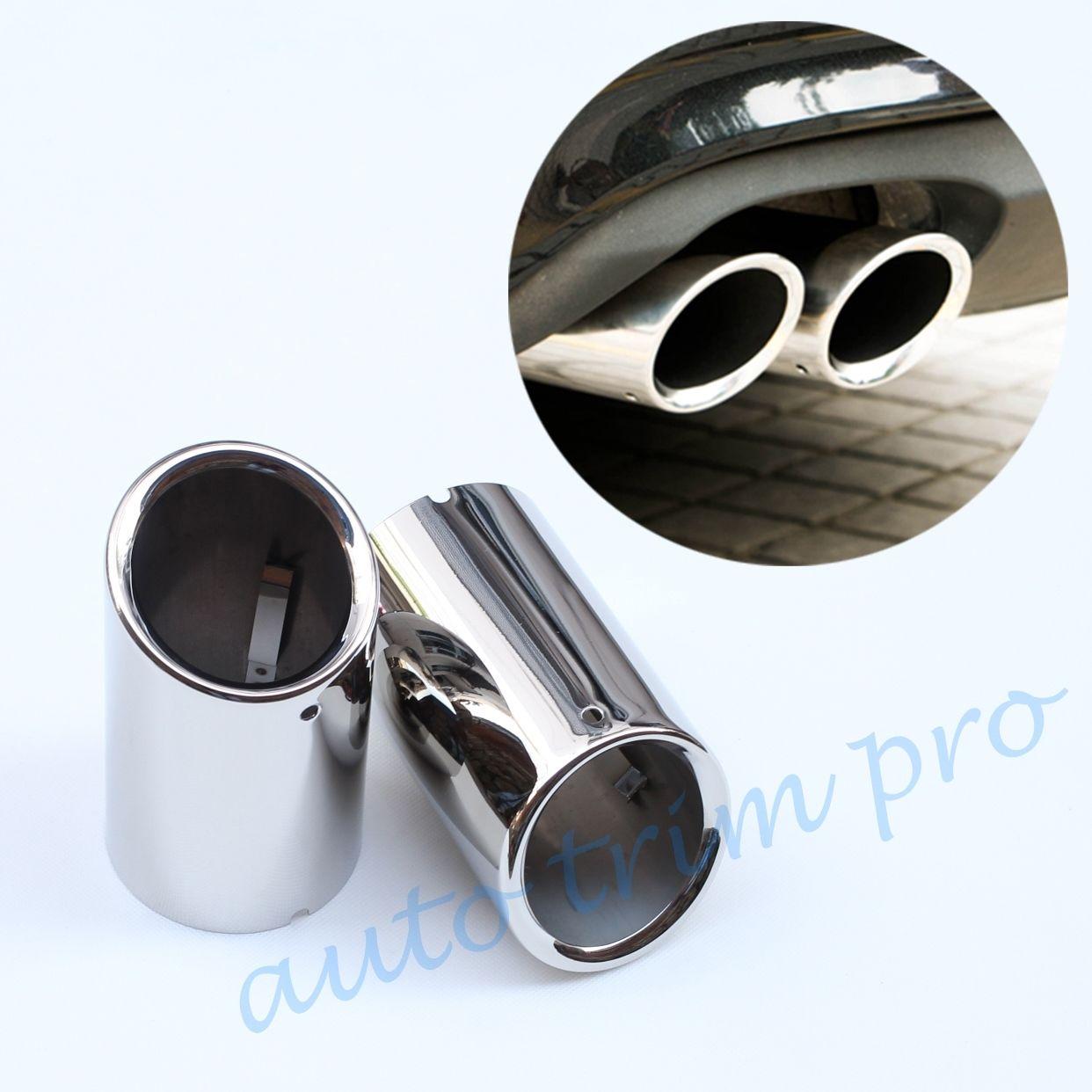 A Pair 4 Tip Dual Exhaust Muffler Silencer For Porsche Panamera Car Decorations