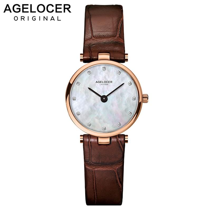 Reloj AGELOCER reloj para mujer relojes de vestir marca AGELOCER reloj de pulsera de cuarzo de cuero Casual para mujer regalos
