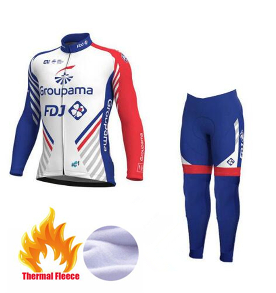 FDJ Pro Team 2018 Cycling Jerseys Set Winter Thermal Fleece Long Sleeves  Racing MTB Maillot Bike Clothing Traje de ciclismo-in Cycling Sets from  Sports ... 7bd08ea43