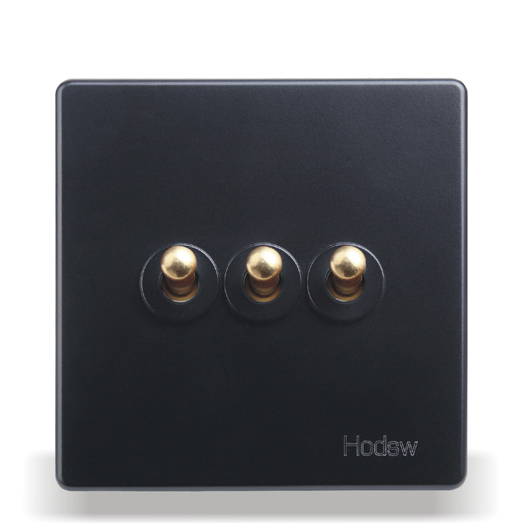 Home Wall Switch Socket 86 Type Concealed Black Steel Frame Three Open Double Control Switch, PC 220V10A new a8 3 three frame a8 function of supporting frame 86 outlet switch combination surface box