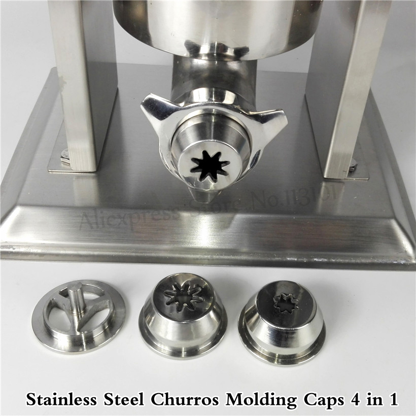 4pcs/lot Stainless Steel Churros Machine Modeling Caps Spare Parts Churro Maker Nozzles Accessories