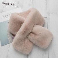 FXFURS 2018 New 100 Real Rex Rabbit Fur Collar Scarf Women S Genuine Leather Lady Fashion