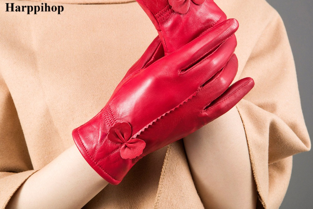 HTB1LrpzPpXXXXXMXXXXq6xXFXXXr - women's genuine leather gloves red sheepskin gloves autumn and winter fashion female windproof gloves