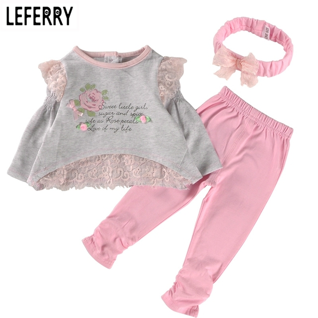 2016 New Spring Baby Girl Clothes Set Cotton Lace Little Girl Clothing Sets Newborn Infant Clothing Baby Suits Birthday Party