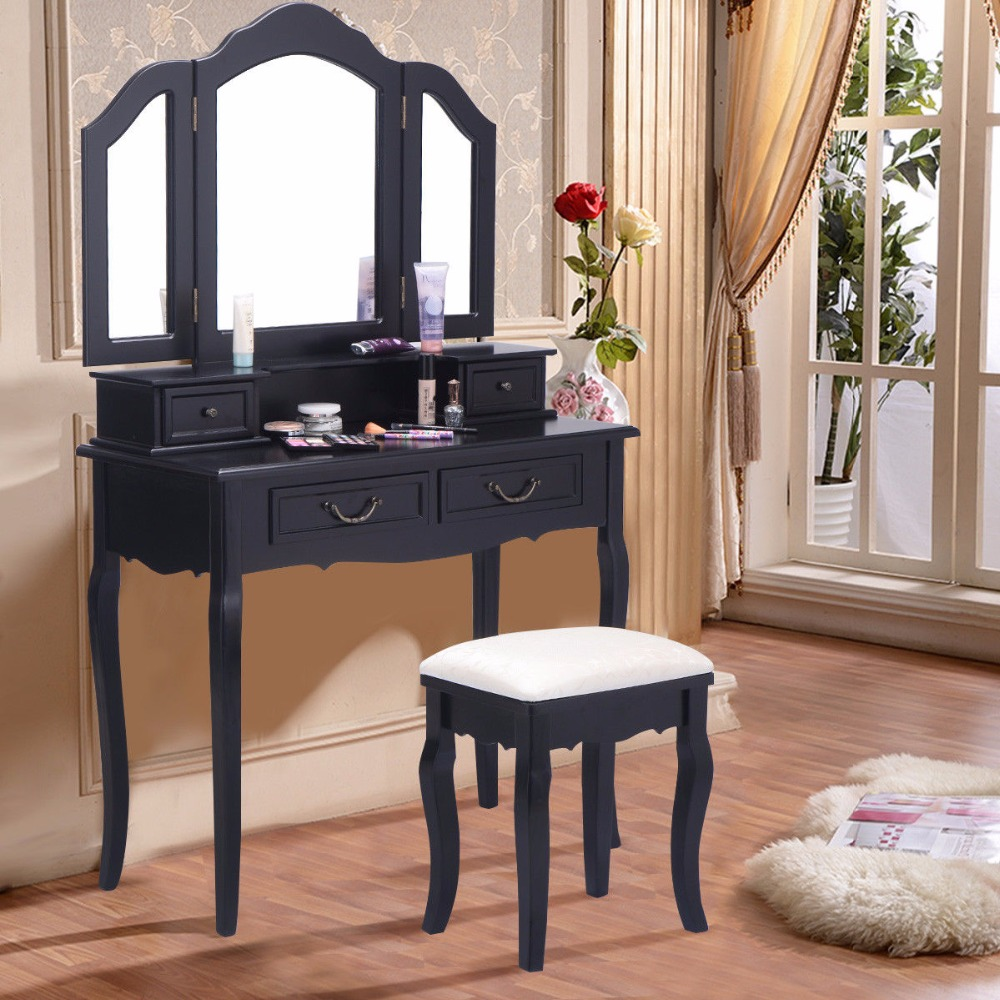 Giantex Tri Folding Mirror Black Wood Vanity Set Makeup Table Dresser 4 Drawers + Stool Home Furniture HB84530Giantex Tri Folding Mirror Black Wood Vanity Set Makeup Table Dresser 4 Drawers + Stool Home Furniture HB84530