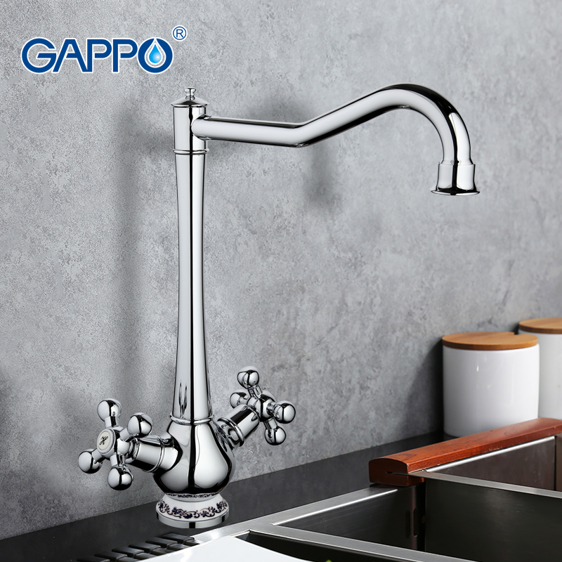 GAPPO Brass Kitchen Faucet Mixer Cold Hot water Kitchen sink Tap Doublel Handle Filtered Water Tap torneira cozinha crane GA4065 high quality single handle brass hot and cold basin sink kitchen faucet mixer tap with two hose kitchen taps torneira cozinha
