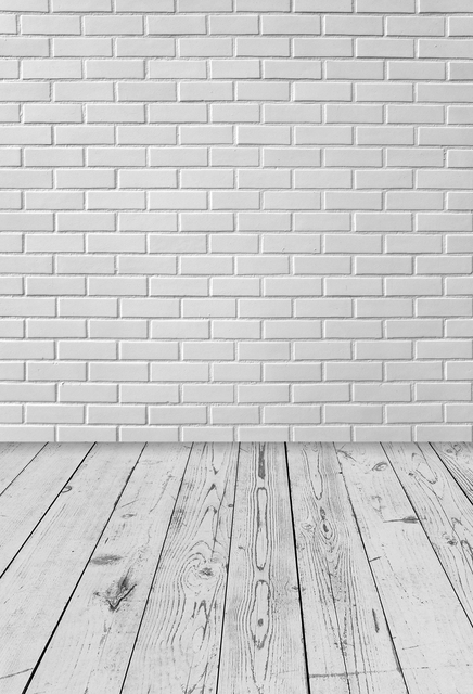 Photography Backdrop White Brick Wall Wood Floor Paper Photo Background Newborns Xt