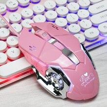 HXSJ nuevo ratón de juego con cable USB profesional 6 botones 3200 PPP óptico ordenador mecánico ratón Gamer ratón rosa para PC