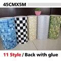 5 Metros de Vinilo PVC mosaico papel pintado Auto-adhesivo para cuarto de baño WC cocina Anti Aceite A Prueba de agua pegatinas de pared decoración para el hogar rollo