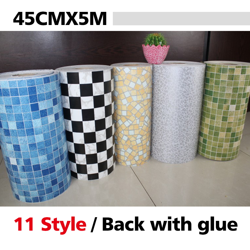 Vinyl PVC Mosaic Tile Shelf Liner Adhesive Contact Paper For Kitchen Backsplash Self Adhesive Wallpaper For Bathroom Wall Decor
