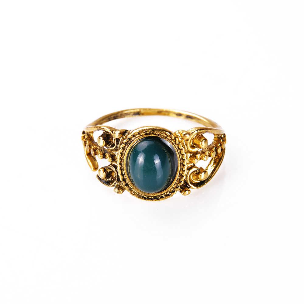 Bohemian 4 unids/pack Vintage azul cristal anillos suerte apilable Midi conjunto nudillos anillo anillos para fiesta de las mujeres
