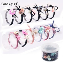 12pcs Bow Rubber Headbands Girl Kids Women Hair Ring Baby Rope Candy-Colored Trinkets Accessories Band Headwear