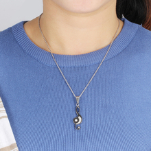 Stainless Steel Puzzle Music Note Pendant Necklace