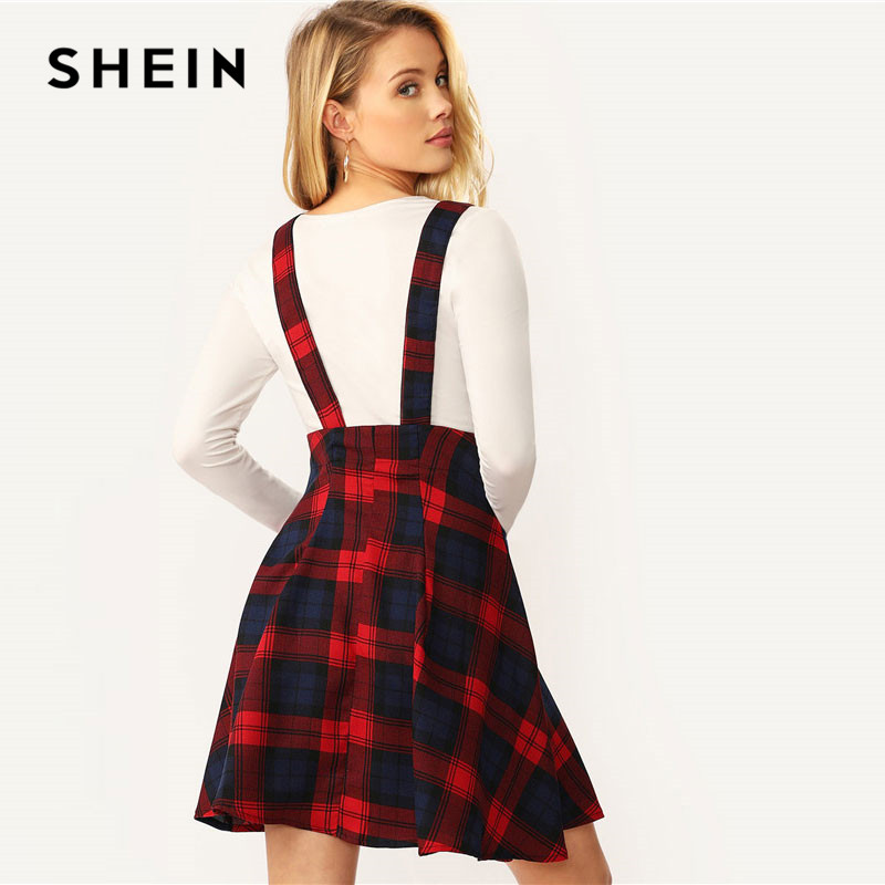 SHEIN Women Multicolor High Waist Button Front Tartan Mini Skirt With Thick Strap Spring Autumn Preppy A Line Plaid Skirt 2