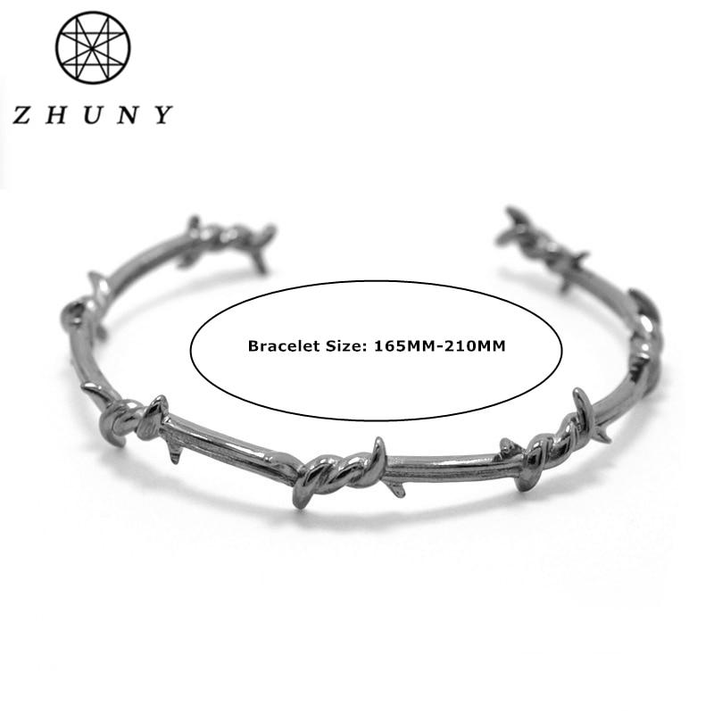 542bd1d87ce0 € 19.61  ZHUNY marca de lujo alambre de púas de Color dorado brazalete  abierto de cobre Twist Thorns pulseras para hombres y mujeres geométricas  ...