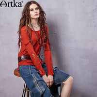 Artka Women S Spring New Bohemian Style Solid Color Pullover O Neck Long Sleeve Hollow Decoration