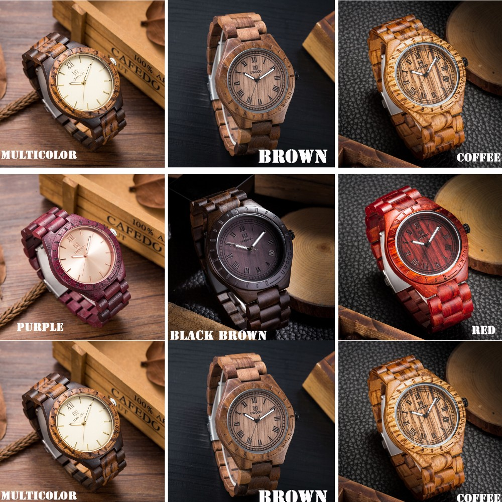18 Hot Sell Men Dress Watch QUartz UWOOD Mens Wooden Watch Wood Wrist Watches men Natural Calendar Display Bangle Gift Relogio 20
