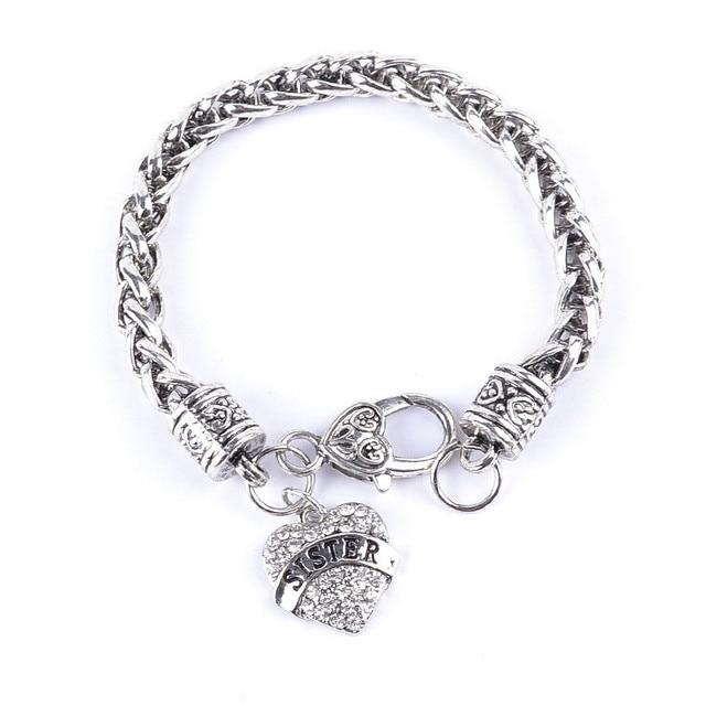 taglia 40 b7d1e 4eb30 US $35.53 6% di SCONTO|Rivista di moda lettera disegno bracciali cuore  amoroso pendenti membro della famiglia sorella braccialetti all'ingrosso 20  ...
