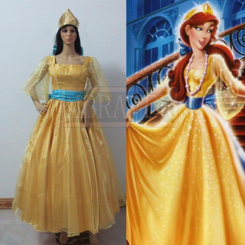 Princess Anastasia Cosplay Costume Fancy Dress Adult Women Halloween Clothes