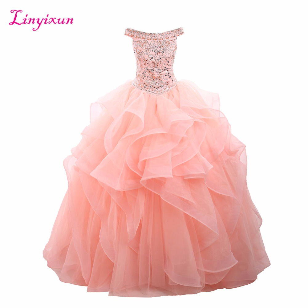 Linyixun Real Photo Crystal Ball Gown Quinceanera Dresses 2017 With Beading Sweet 16 Dresses For 15 Years Vestidos De 15 Anos
