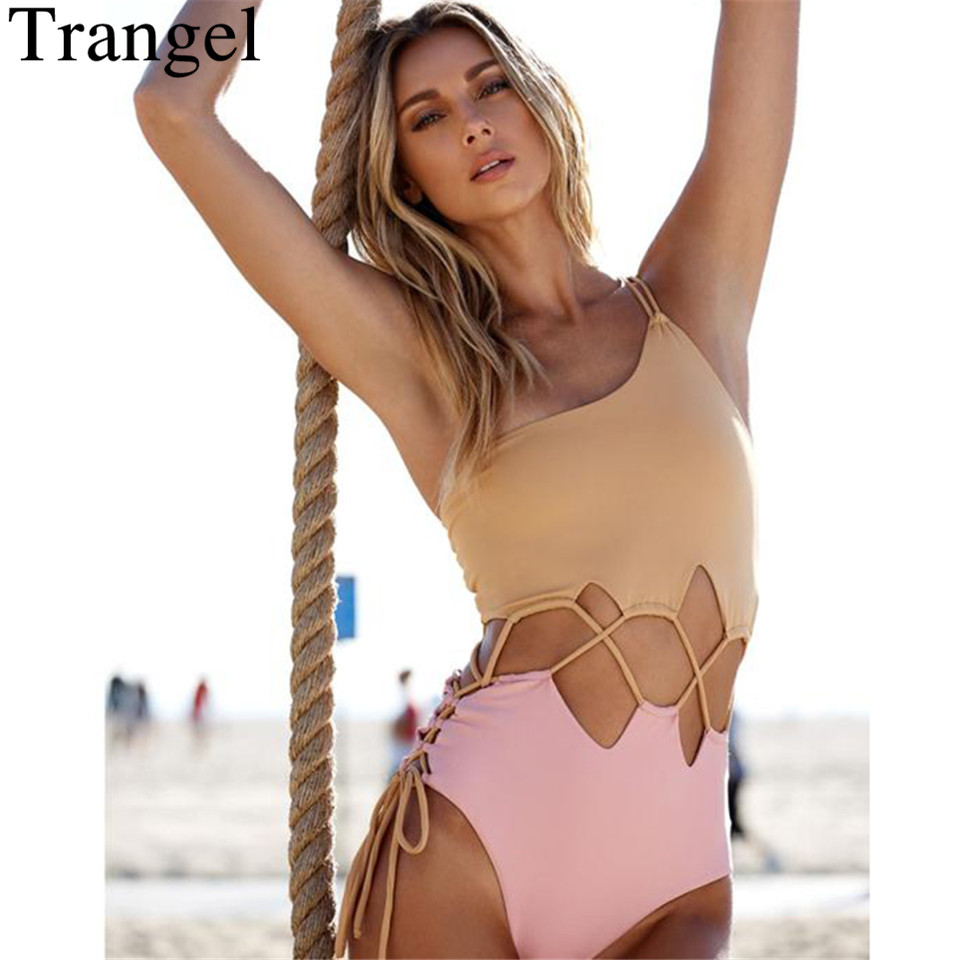 Trangel One Piece Swimsuit Women Swimwear Patchwork Monokini Hollow Out Swim Suit Bodysuit Bathing Suit One Shoulder Beach Wear casual one shoulder sleeveless hollow out one piece women s swimwear