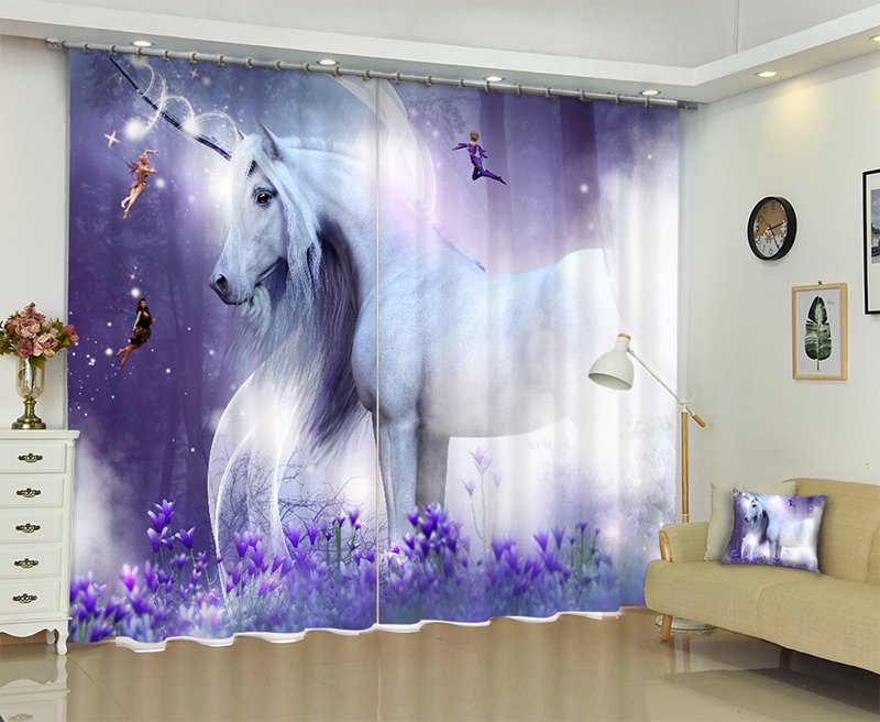 Forest Guardian Unicorn Three-dimensional Oil Painting Curtains Blocking Black Silk Cloth Photo Print 3d Shading Fabric